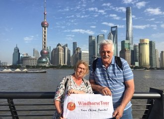 Richard and Julianne stand at Shanghai Bund