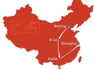 Beijing Xian Guilin Shanghai Tour Route