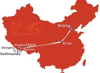 Beijing Xi'an Tibet Tour Route