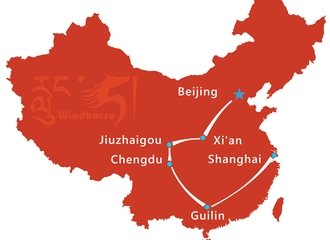China Sightseeing Tour Route