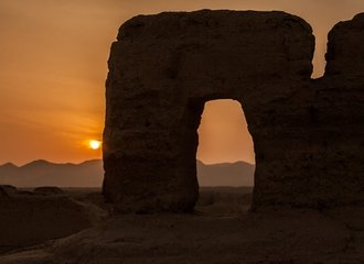 The Ancient City of Jiaohe at Sunset on a Silk Road Adventure