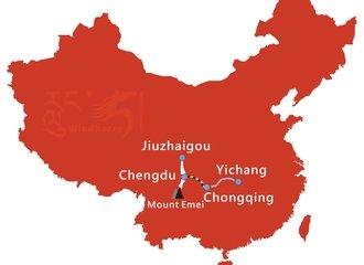 Sichuan Highlight and Yangtze Cruise Tour Route
