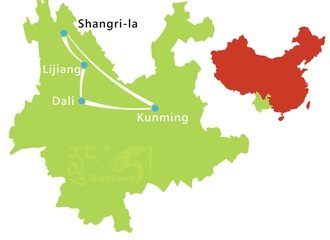 Yunnan Highlights Tour Route