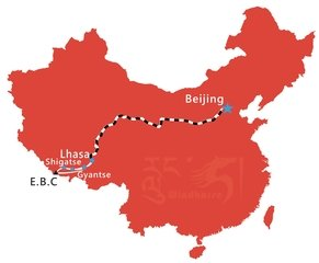 Beijing to Everest Base Camp Tibet Group Tour Map