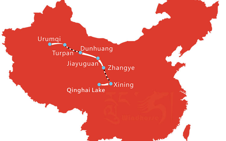 Map of 10 Day Silk Road from Urumqi to Xining Qinghai Lake