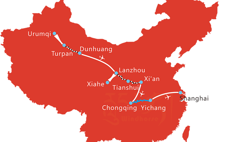 Map of 15 Days Silk Road and Yangtze River Cruise Tour