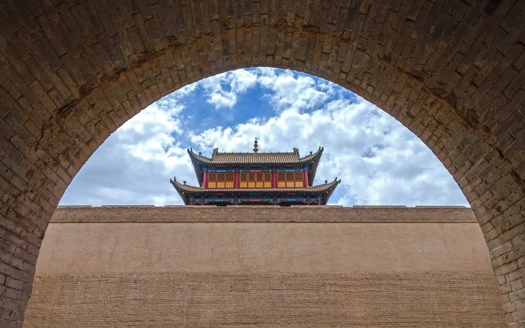 Jiayguan Pass on the Great Wall of China Along the Silk Road
