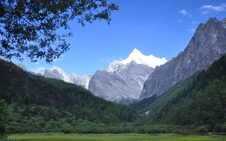 Yading nature reserve holy peaks in summer