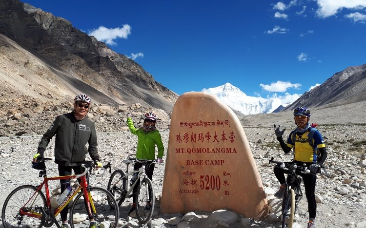 Cycling group at Everest Base Camp