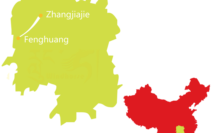 Zhangjiajie parks and Fenghuang ancient town tour map