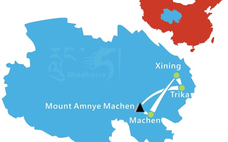 Amnye Machen Trekking Tour Route