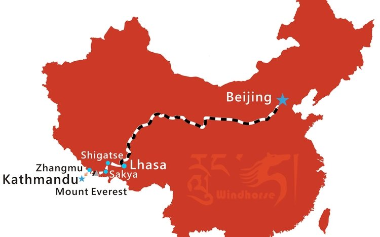 Beijing to Tibet Train Tour Route