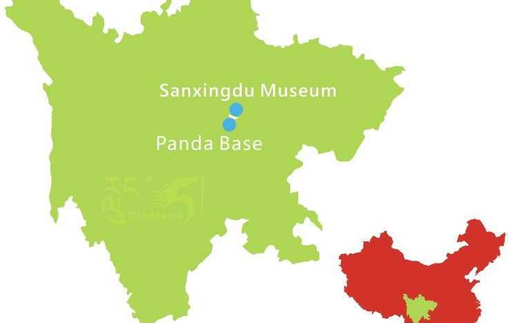 Chengdu Panda Base to Sangxingdui Tour Route