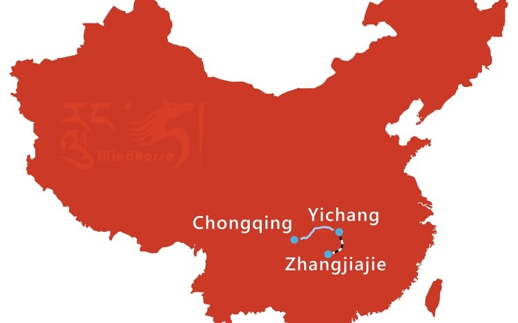 Yangtze Cruise and Jiuzhaigou Tour Route