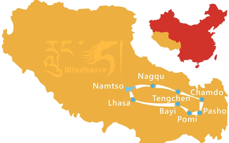 Eastern Tibet Overland Tour Route