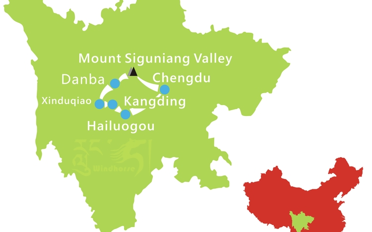 Hailuogou and Mount Siguniang Tour Route