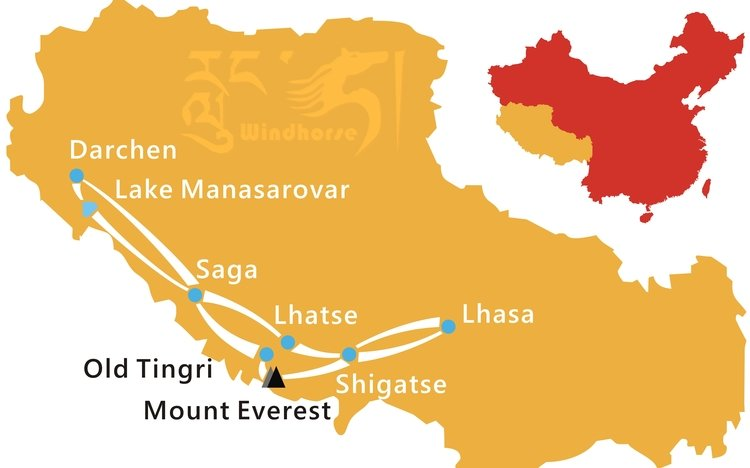 Mount Everest Kailash Tour Route