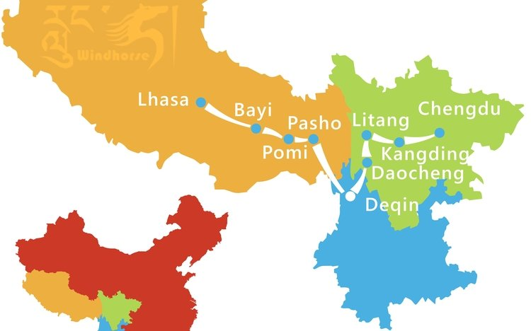 Lhasa China Map.Chengdu To Lhasa Via Daocheng Yading Nature Reserve And Deqin