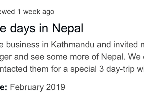 Client feedback from TripAdvisor for February Nepal tour