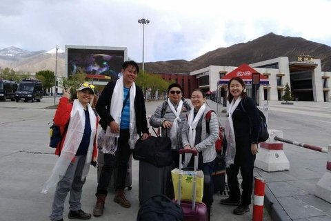 windhorsetour clients are greeted at Gonggar airport upon arrival