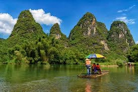 Bamboo rafting on Yulong River
