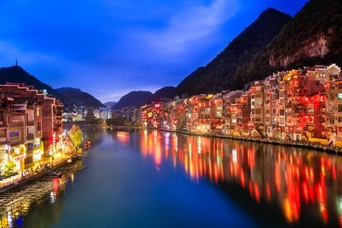 night-view of Zhenyuan Ancient Town