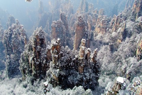 zhangjiajie in winter with snowing