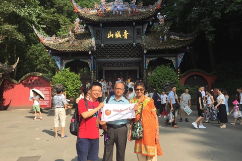 Rama and Mohana in front of Mt. Qingcheng with guide Sandy