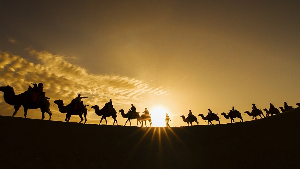 Sunset over Mingshashan on a Dunhuang China Silk Road Tour