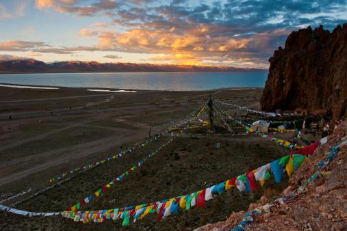 Beautiful Sunset At Lake Namtso, Tibet