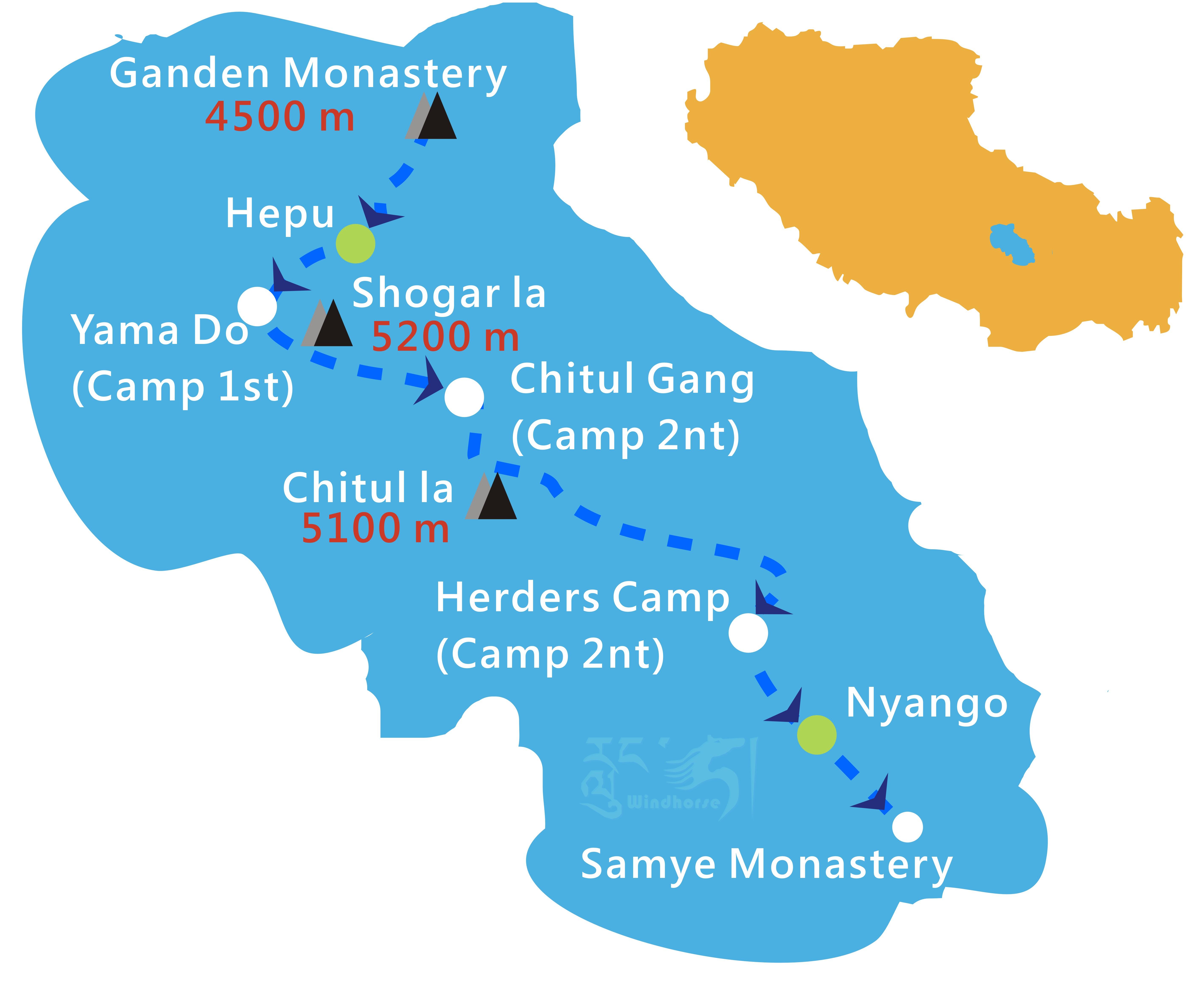 Tibet Ganden Samye Trekking Tour Route