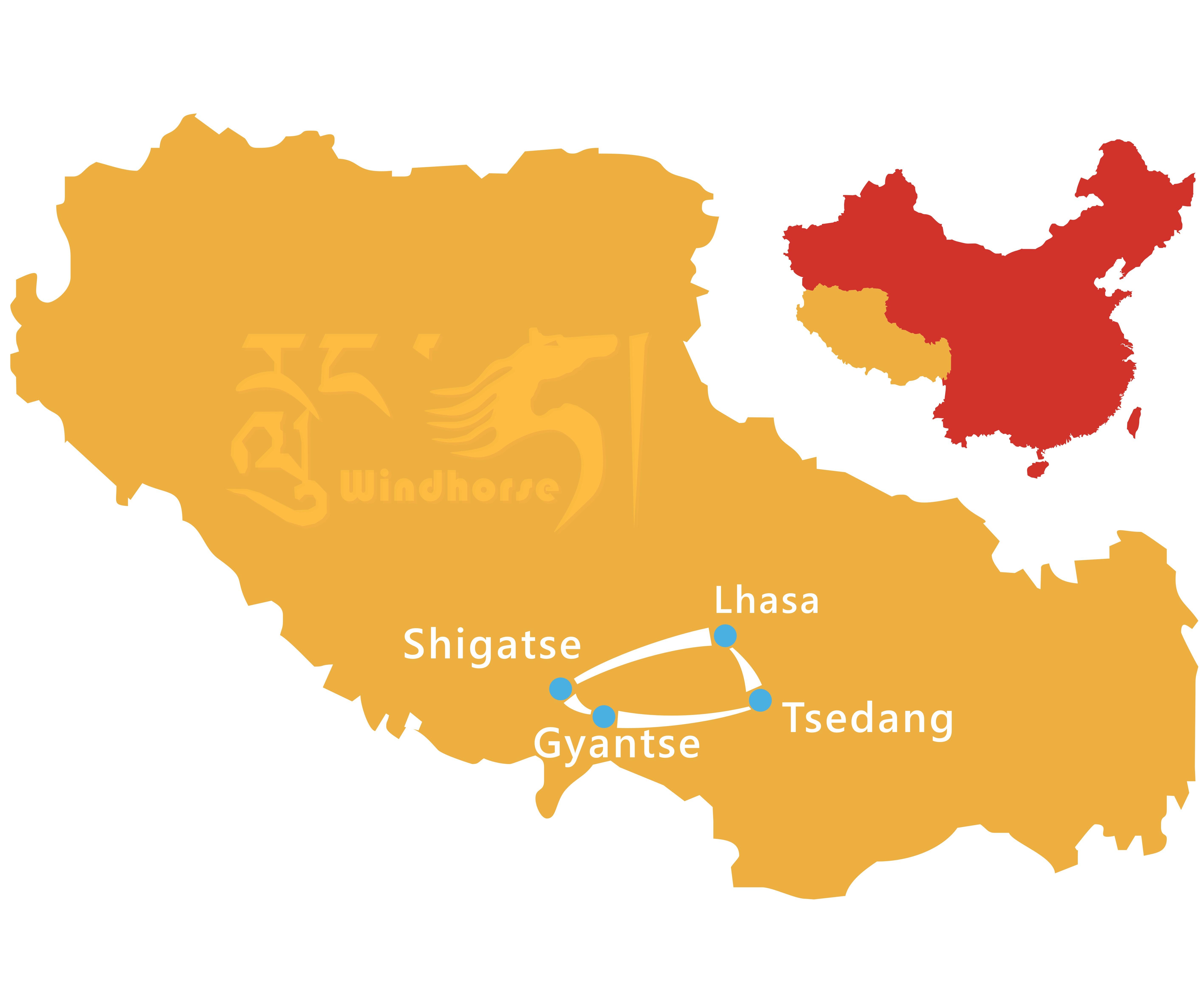 Tibet In Depth Tour Route
