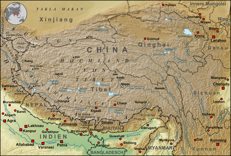 Nepal Tibet Karte.Tibet Maps Where Is Tibet On A Map Maps Of Tibet Windhorsetour