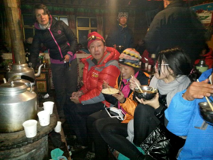 Clients Eating Food at Everest Base Camp