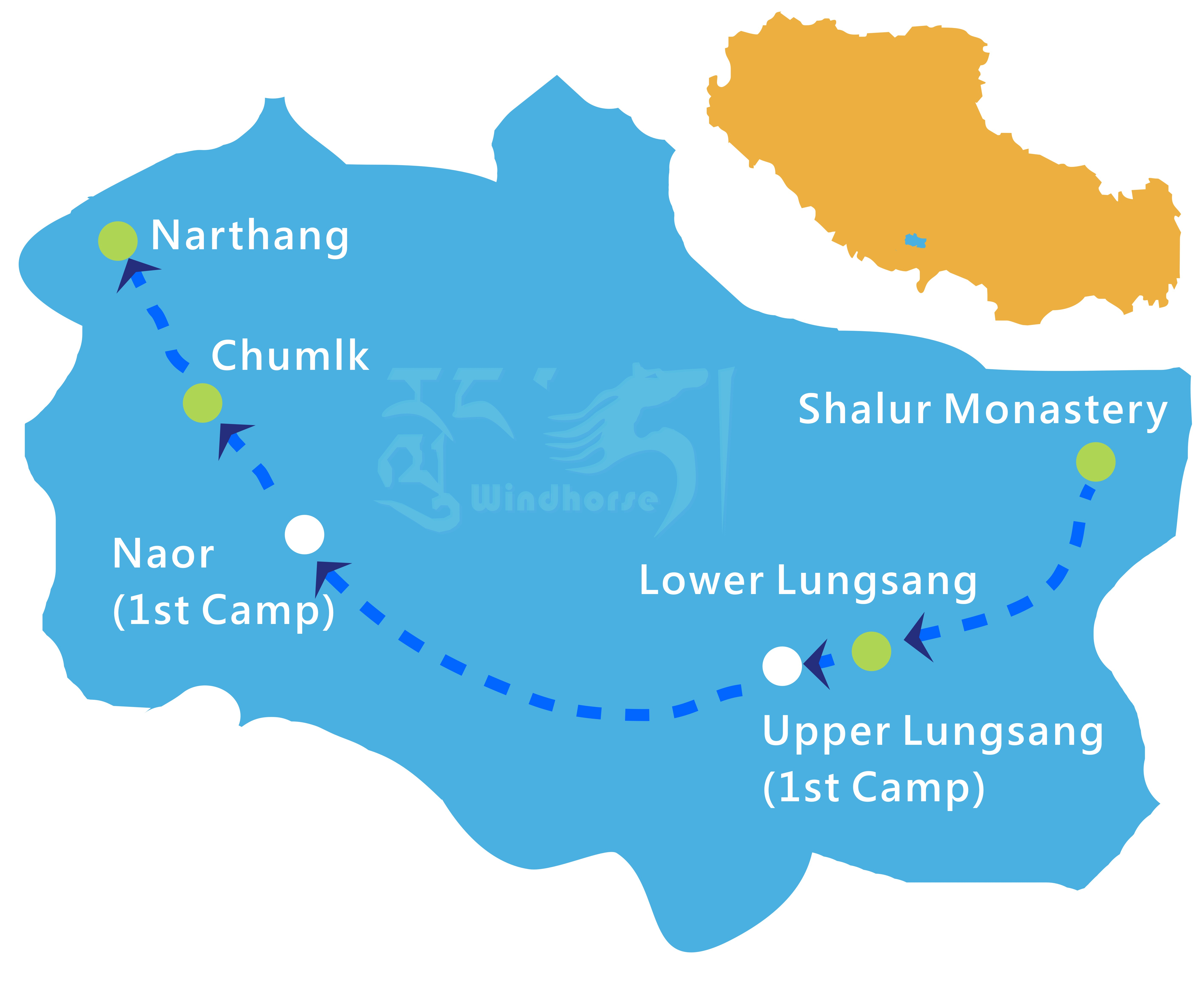 Tibet Shalu Nartang Trekking Tour Route