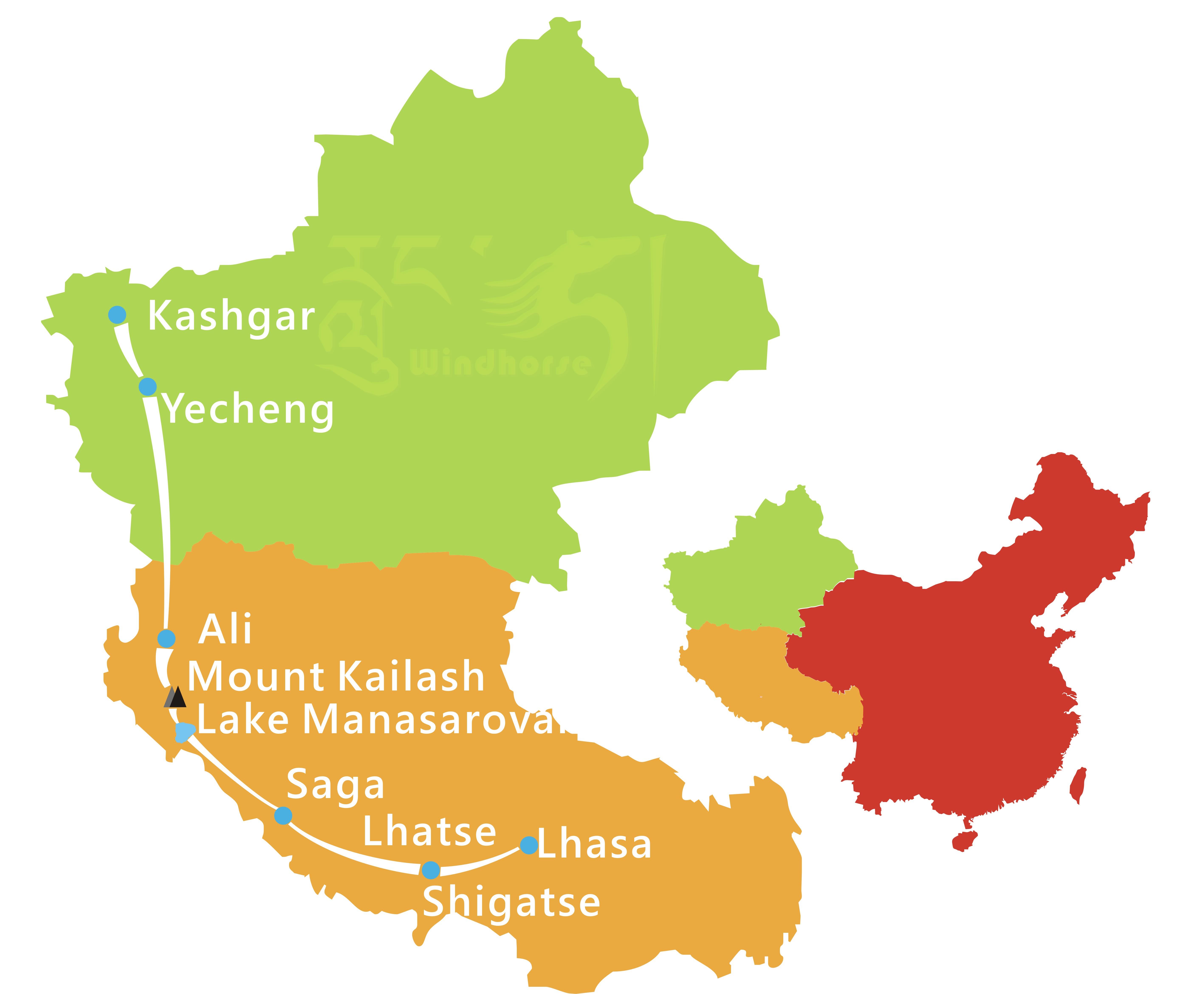 Tibet Xinjiang Tour Route
