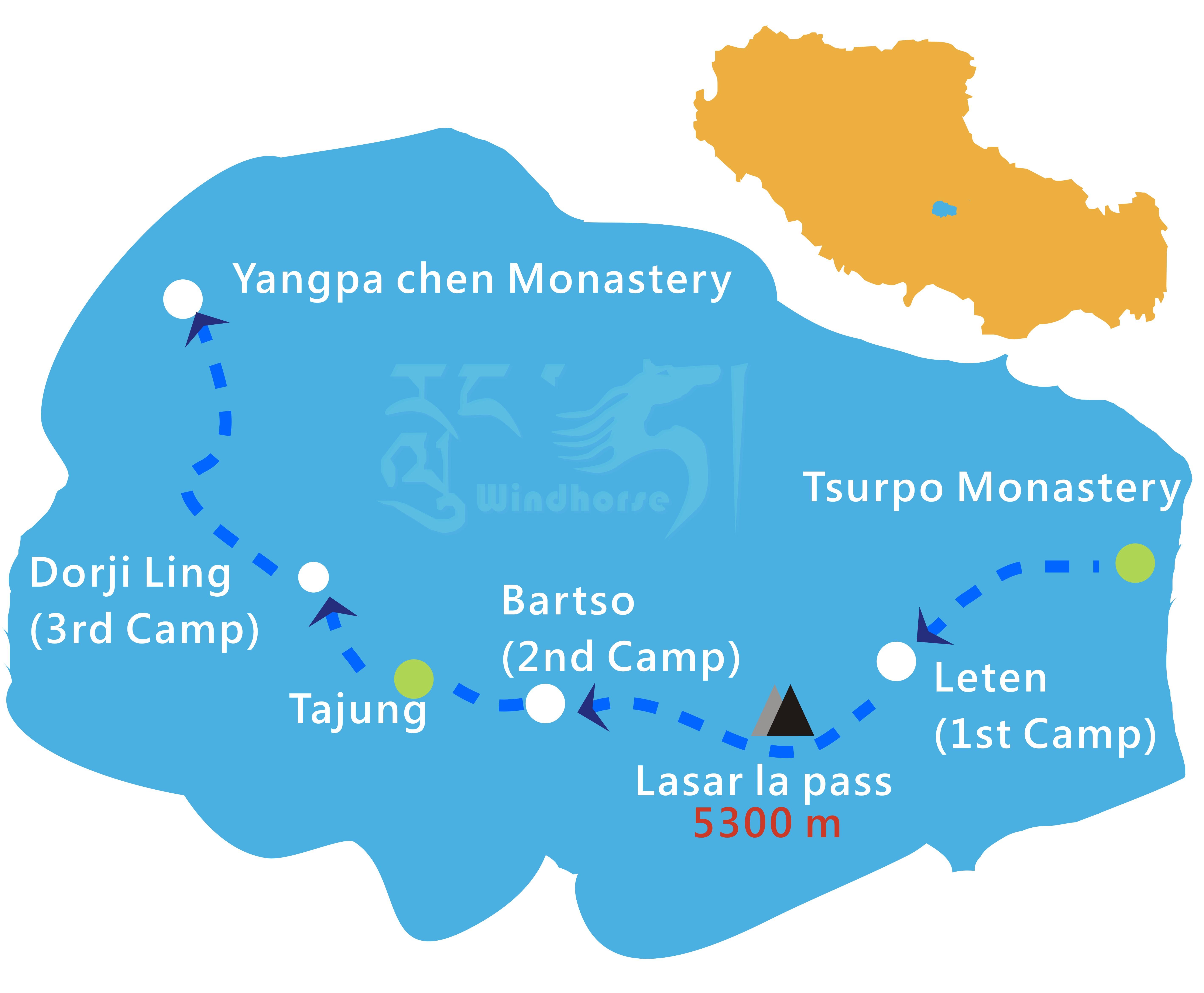Tsurphu Trekking Tour Route
