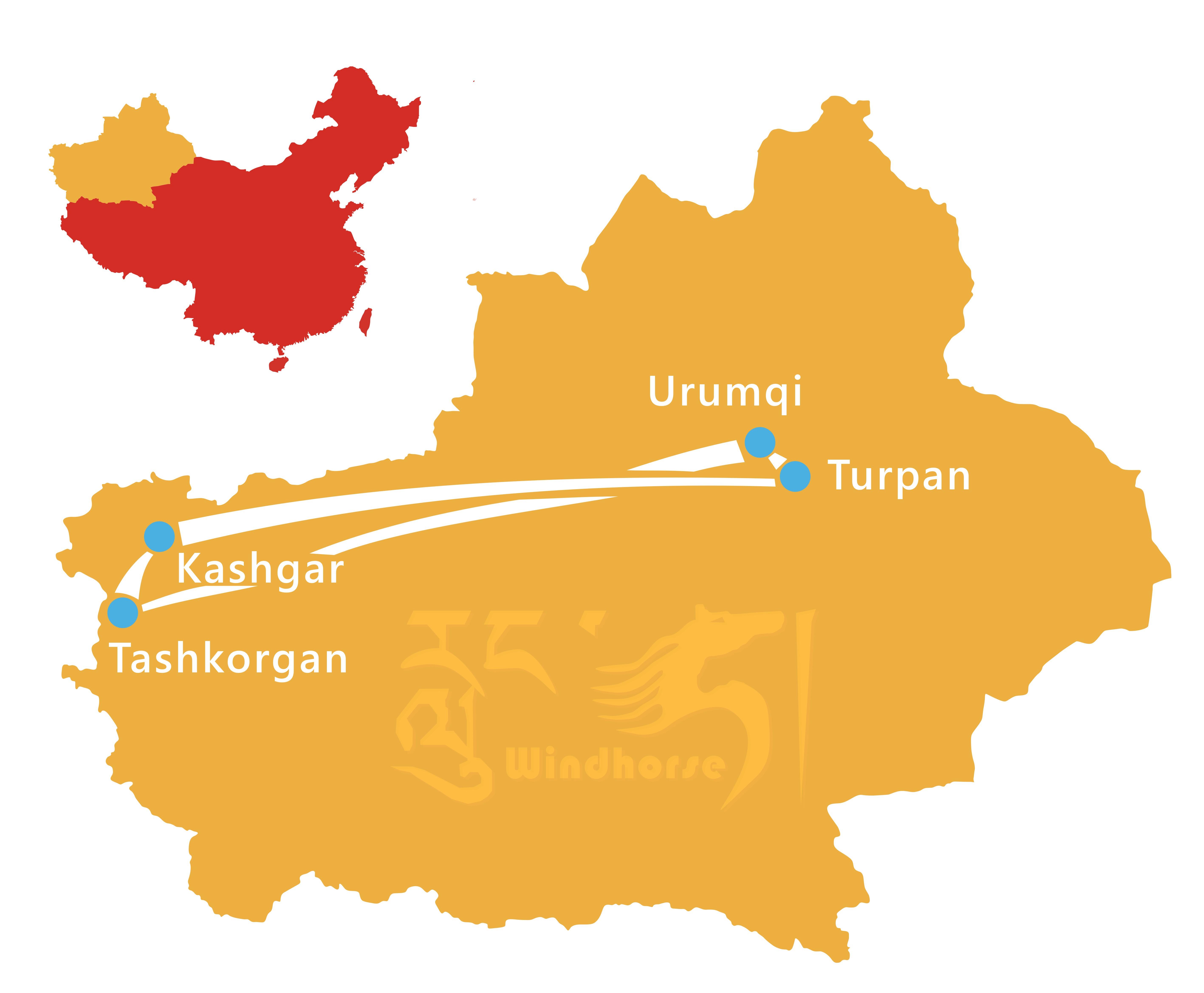 Xinjiang Highlights Tour Route