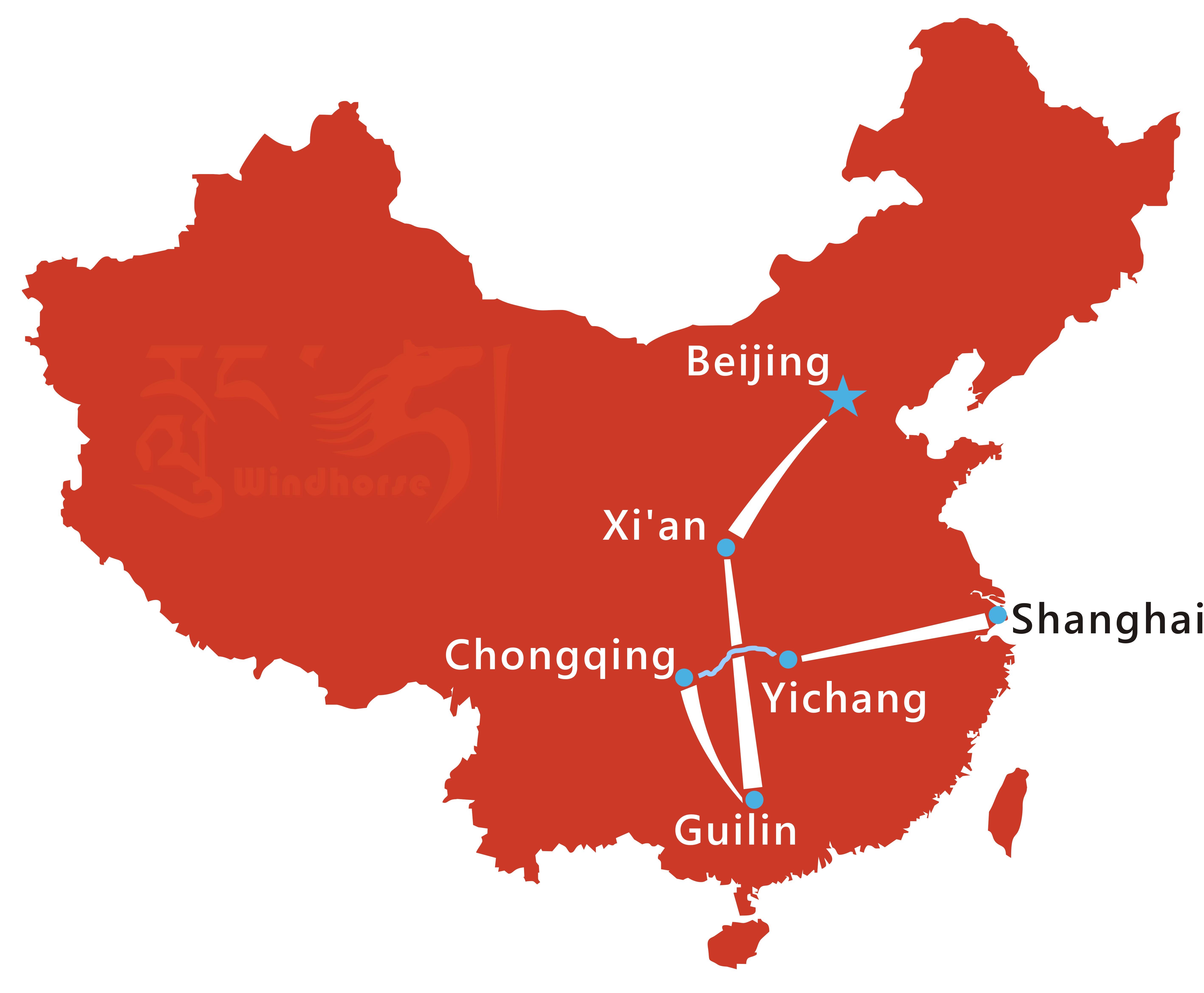 Yangtze River Cruise Tour Route