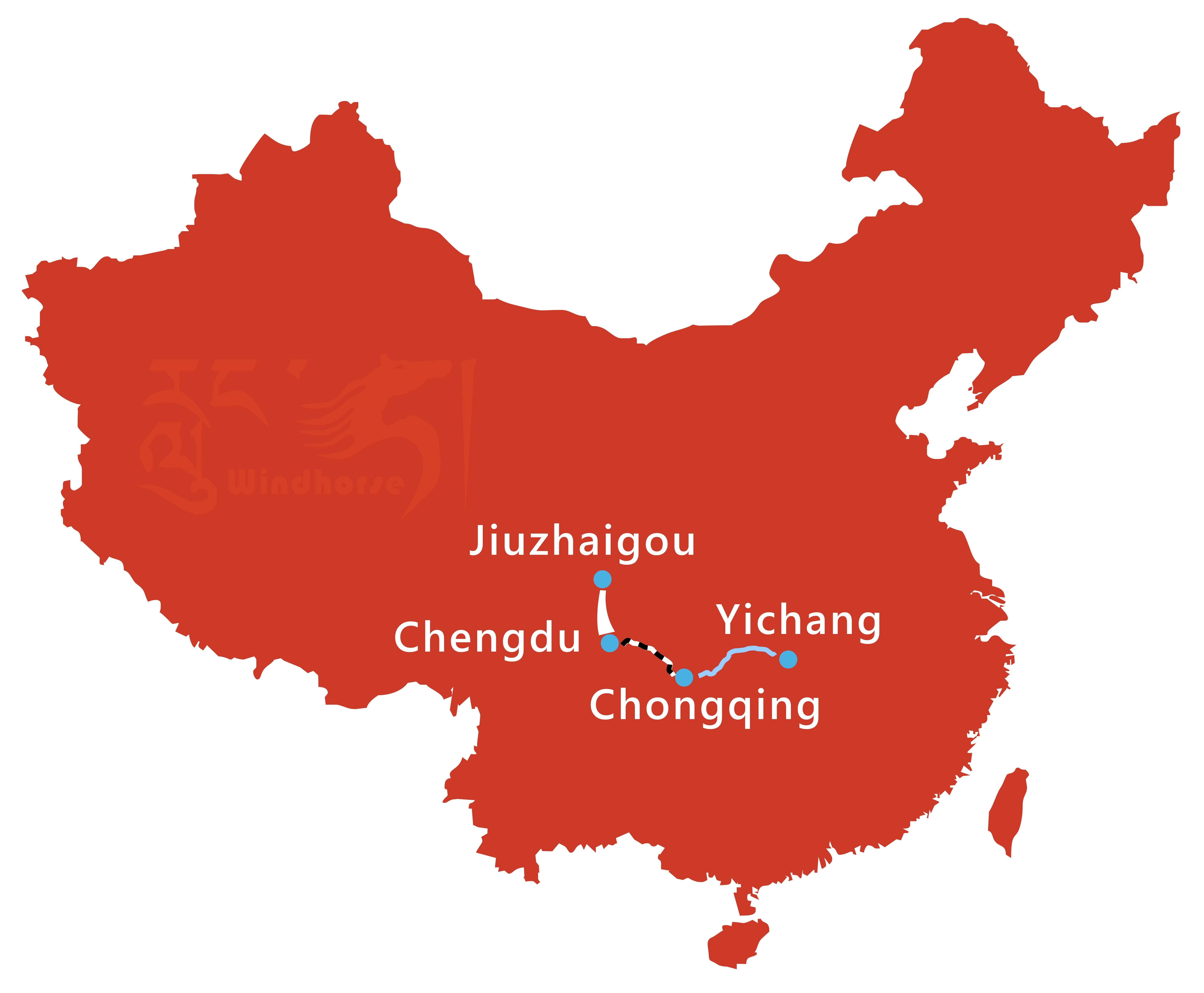 Chengdu Jiuzhaigou Yangtze Cruise Tour Route