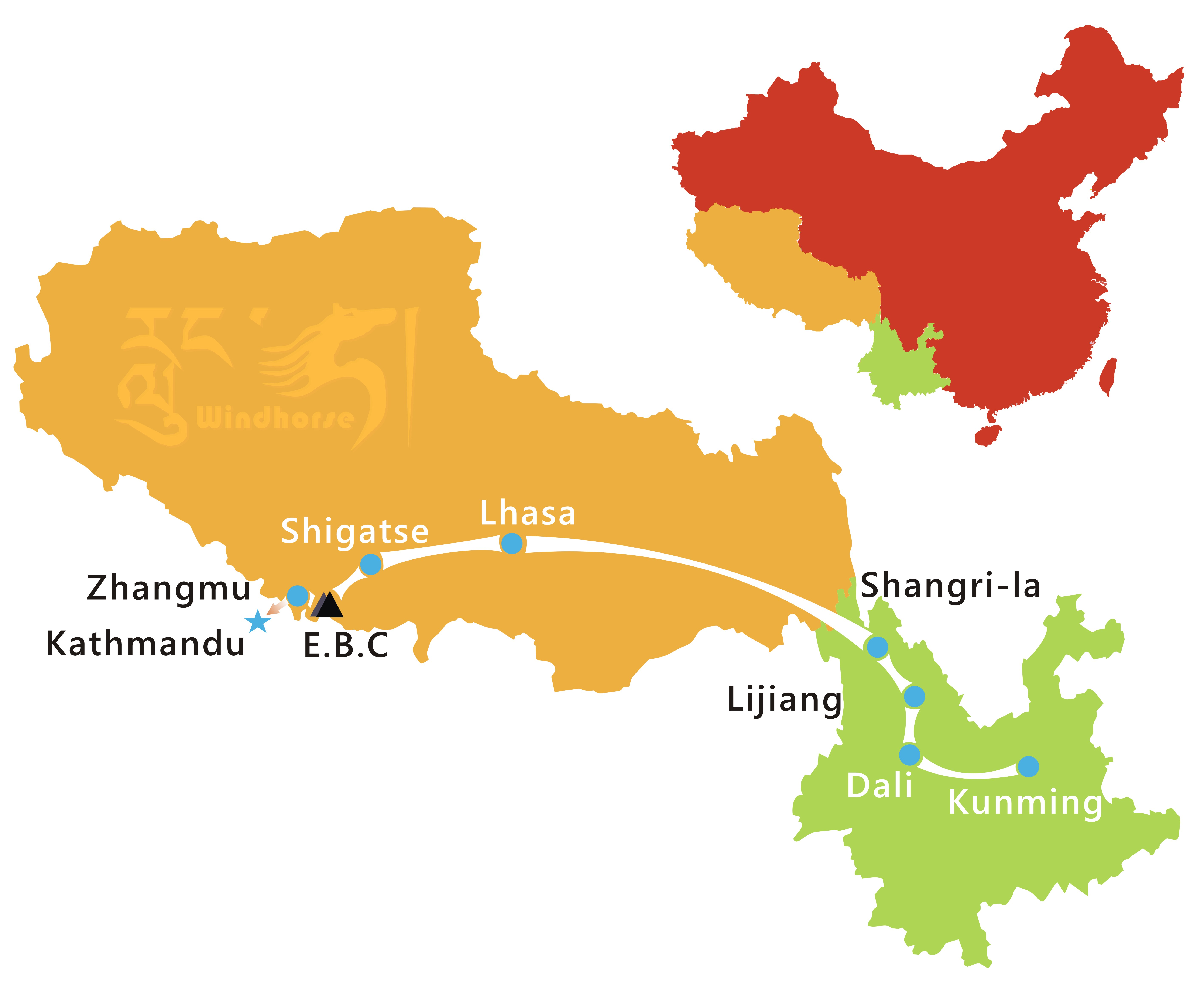 Yunnan Tibet Tour Route